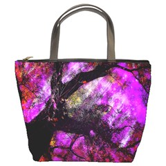 Pink Abstract Tree Bucket Bags
