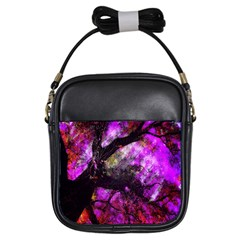 Pink Abstract Tree Girls Sling Bags