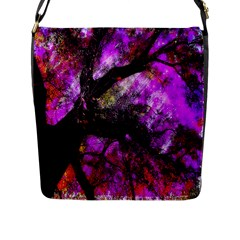 Pink Abstract Tree Flap Messenger Bag (L)