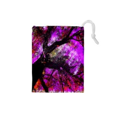 Pink Abstract Tree Drawstring Pouches (small)
