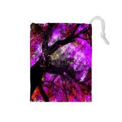 Pink Abstract Tree Drawstring Pouches (Medium)