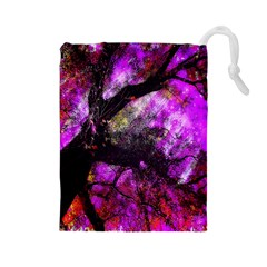Pink Abstract Tree Drawstring Pouches (large)