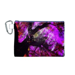 Pink Abstract Tree Canvas Cosmetic Bag (M)