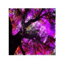 Pink Abstract Tree Small Satin Scarf (Square)