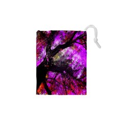 Pink Abstract Tree Drawstring Pouches (XS)