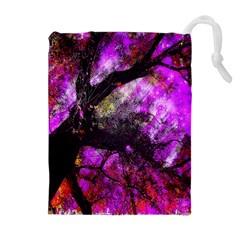 Pink Abstract Tree Drawstring Pouches (Extra Large)