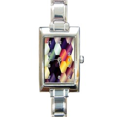 Colorful Hexagon Pattern Rectangle Italian Charm Watch
