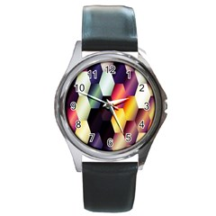 Colorful Hexagon Pattern Round Metal Watch