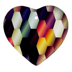 Colorful Hexagon Pattern Ornament (heart)