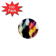 Colorful Hexagon Pattern 1  Mini Buttons (100 Pack)