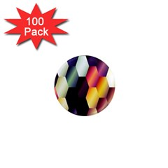 Colorful Hexagon Pattern 1  Mini Magnets (100 pack)