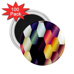 Colorful Hexagon Pattern 2 25  Magnets (100 Pack)