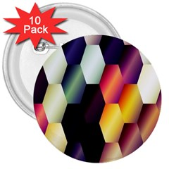 Colorful Hexagon Pattern 3  Buttons (10 Pack)
