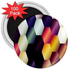 Colorful Hexagon Pattern 3  Magnets (100 pack)