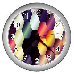 Colorful Hexagon Pattern Wall Clocks (Silver)