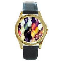 Colorful Hexagon Pattern Round Gold Metal Watch