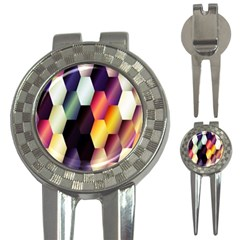 Colorful Hexagon Pattern 3 In 1 Golf Divots