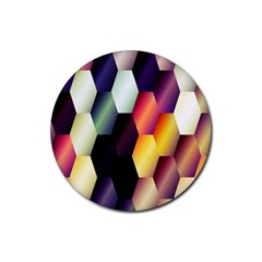 Colorful Hexagon Pattern Rubber Round Coaster (4 pack)