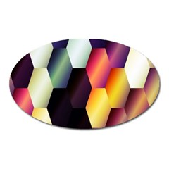 Colorful Hexagon Pattern Oval Magnet