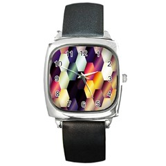 Colorful Hexagon Pattern Square Metal Watch
