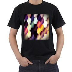 Colorful Hexagon Pattern Men s T-Shirt (Black) (Two Sided)