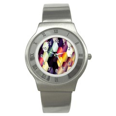 Colorful Hexagon Pattern Stainless Steel Watch