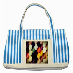 Colorful Hexagon Pattern Striped Blue Tote Bag