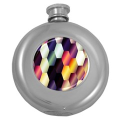 Colorful Hexagon Pattern Round Hip Flask (5 Oz)