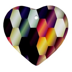 Colorful Hexagon Pattern Heart Ornament (Two Sides)