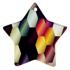 Colorful Hexagon Pattern Star Ornament (Two Sides)