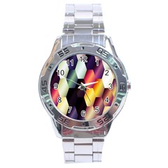 Colorful Hexagon Pattern Stainless Steel Analogue Watch
