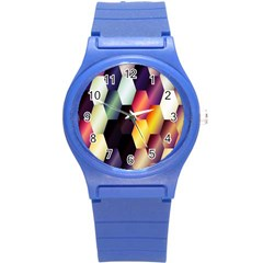 Colorful Hexagon Pattern Round Plastic Sport Watch (s)