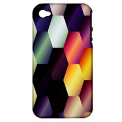 Colorful Hexagon Pattern Apple iPhone 4/4S Hardshell Case (PC+Silicone)