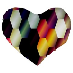 Colorful Hexagon Pattern Large 19  Premium Heart Shape Cushions
