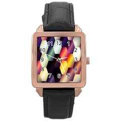 Colorful Hexagon Pattern Rose Gold Leather Watch