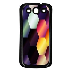 Colorful Hexagon Pattern Samsung Galaxy S3 Back Case (Black)