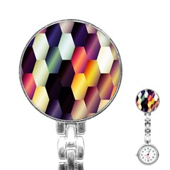 Colorful Hexagon Pattern Stainless Steel Nurses Watch