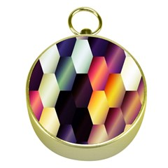 Colorful Hexagon Pattern Gold Compasses