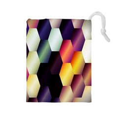 Colorful Hexagon Pattern Drawstring Pouches (large)