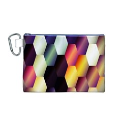Colorful Hexagon Pattern Canvas Cosmetic Bag (m)