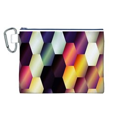 Colorful Hexagon Pattern Canvas Cosmetic Bag (L)