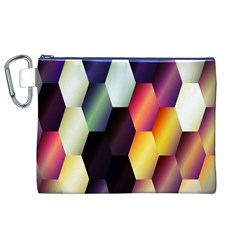 Colorful Hexagon Pattern Canvas Cosmetic Bag (XL)