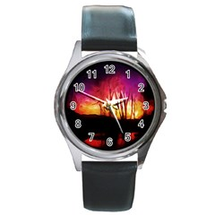 Fall Forest Background Round Metal Watch