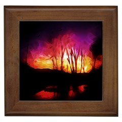 Fall Forest Background Framed Tiles