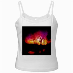 Fall Forest Background White Spaghetti Tank