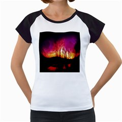 Fall Forest Background Women s Cap Sleeve T