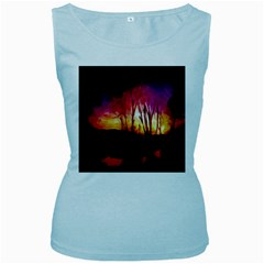 Fall Forest Background Women s Baby Blue Tank Top