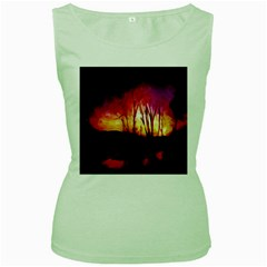 Fall Forest Background Women s Green Tank Top