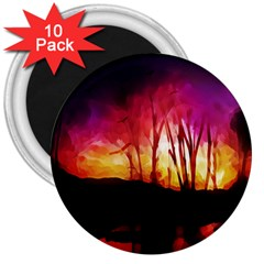 Fall Forest Background 3  Magnets (10 pack)