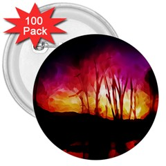 Fall Forest Background 3  Buttons (100 pack)
